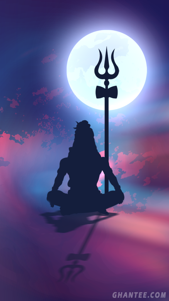 lord shiva silhouette phone wallpaper