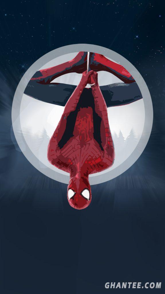 spiderman hanging phone wallpaper HD
