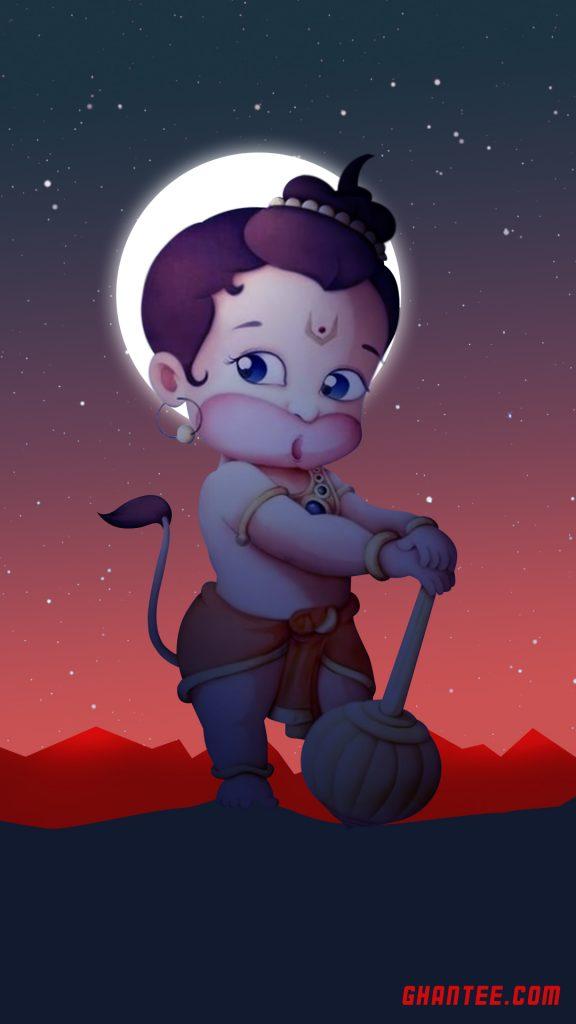 bal hanuman bright night wallpaper for mobile