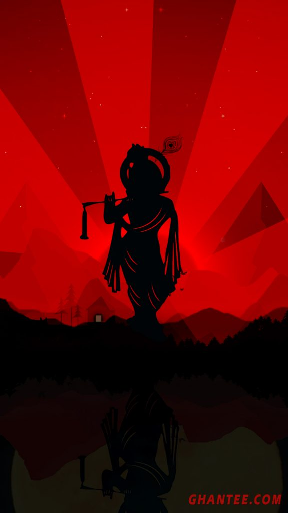 krishna silhouette black and red phone wallpaper HD
