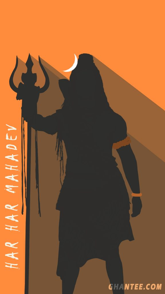 shiv wallpaper free download - standing pose minimalist orange