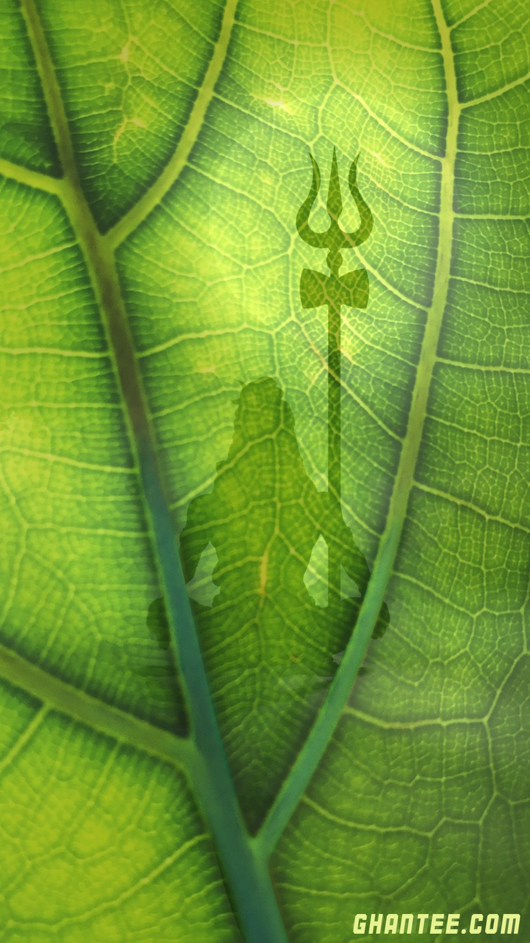 shiva silhouette on a leaf wallpaper for android and iphone