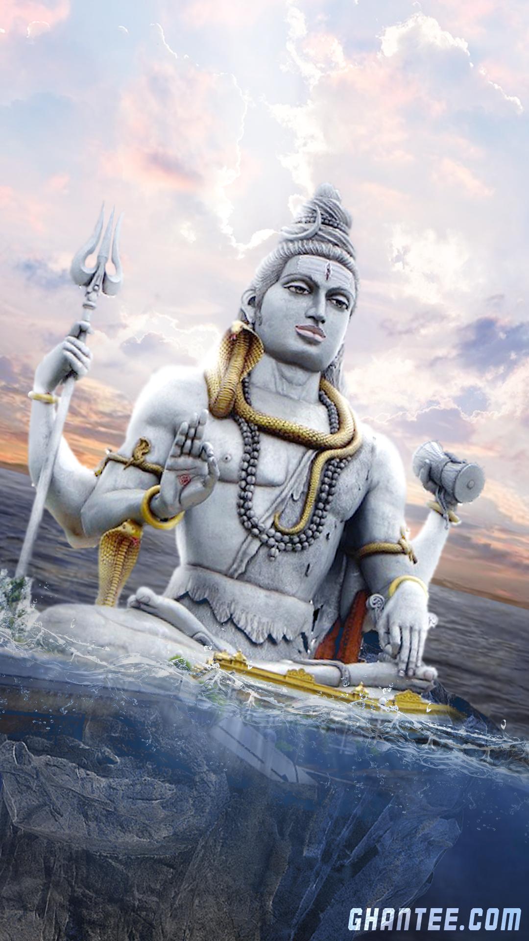 lord shiva statue in water hd phone wallpaper | full HD