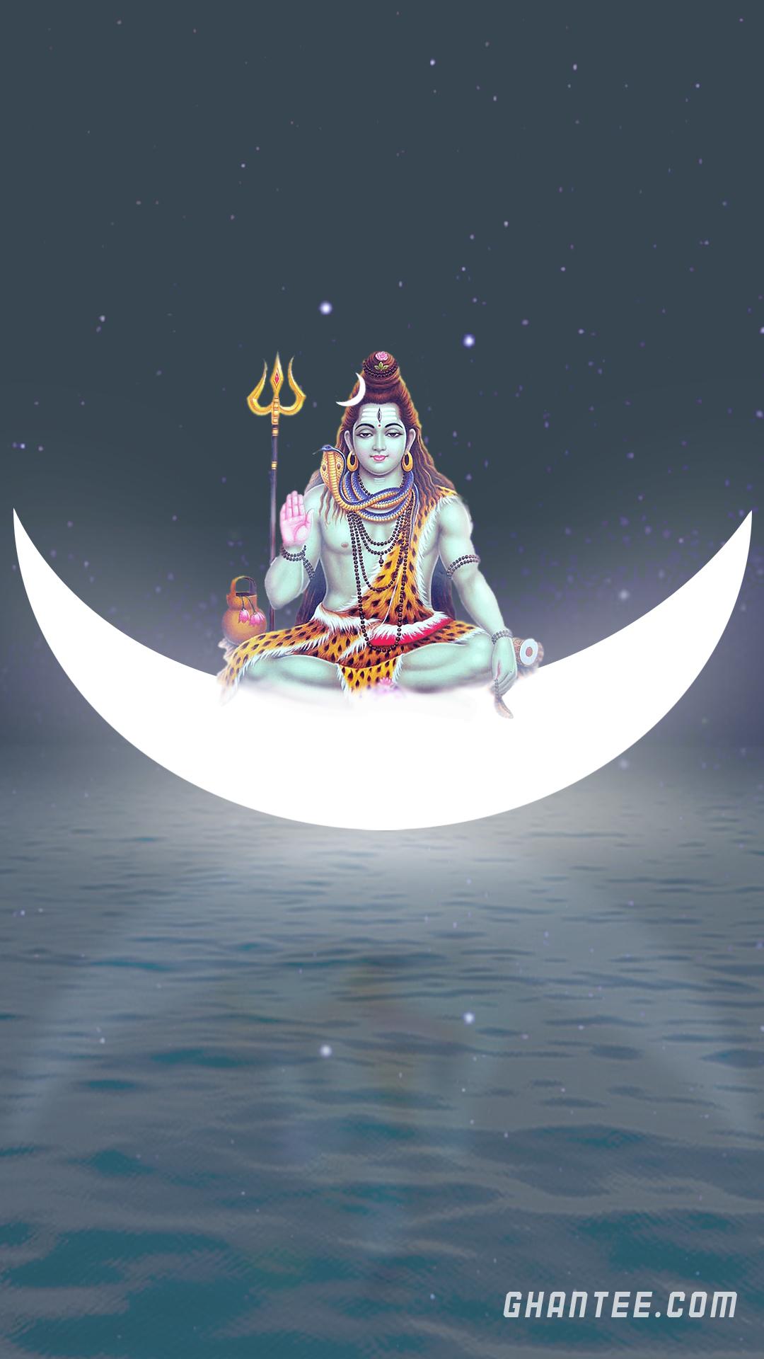 mahadev on moon hd mobile wallpaper | 1920×1080