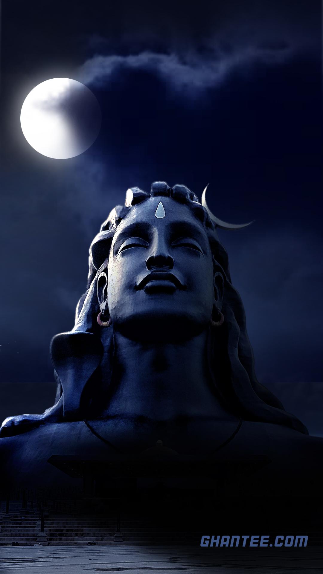 adiyogi lord shiva soothing night wallpaper