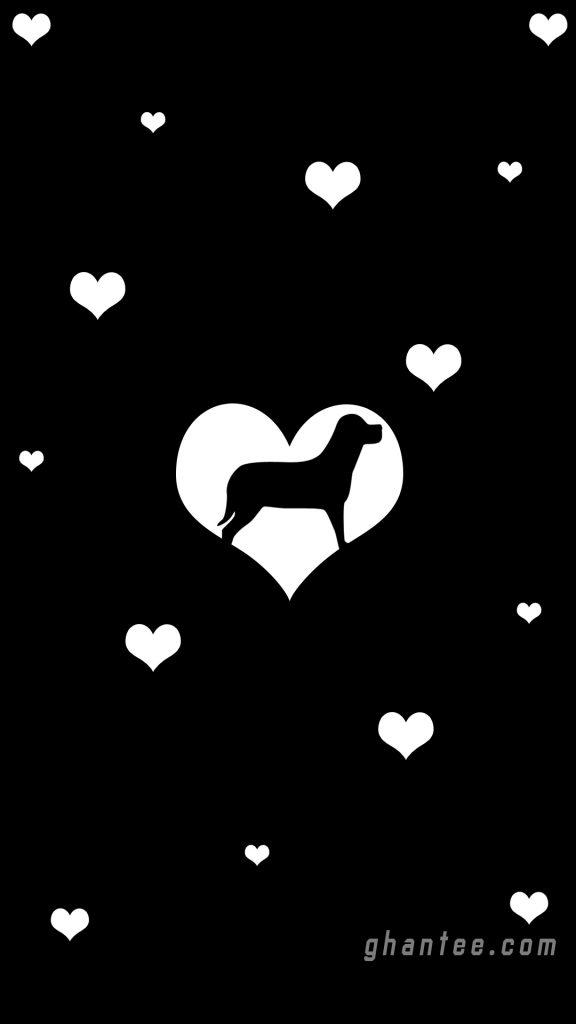 cute dog minimalist girl's phone wallpaper