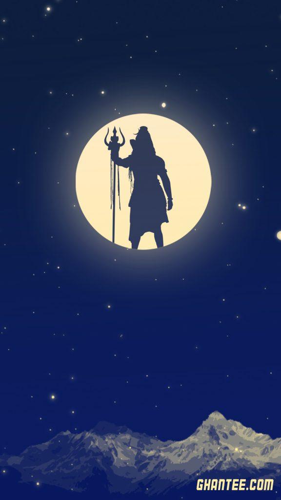 lord shiva full moon phone lockscreen