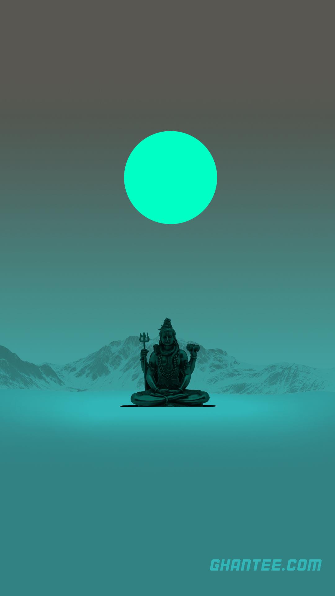 lord shiva minimalist green moon phone wallpaper | full HD