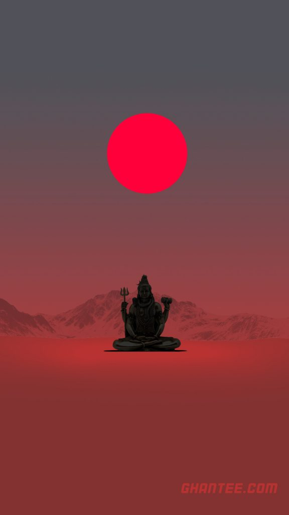 lord shiva minimalist red moon phone wallpaper