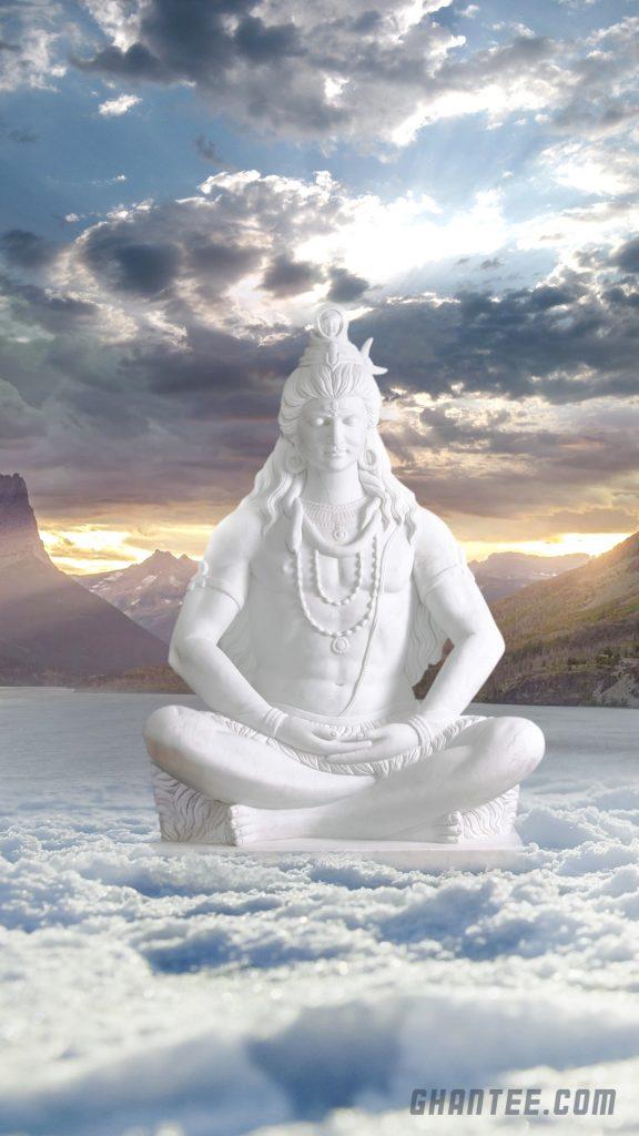 mahadev snow statue hd phone wallpaper