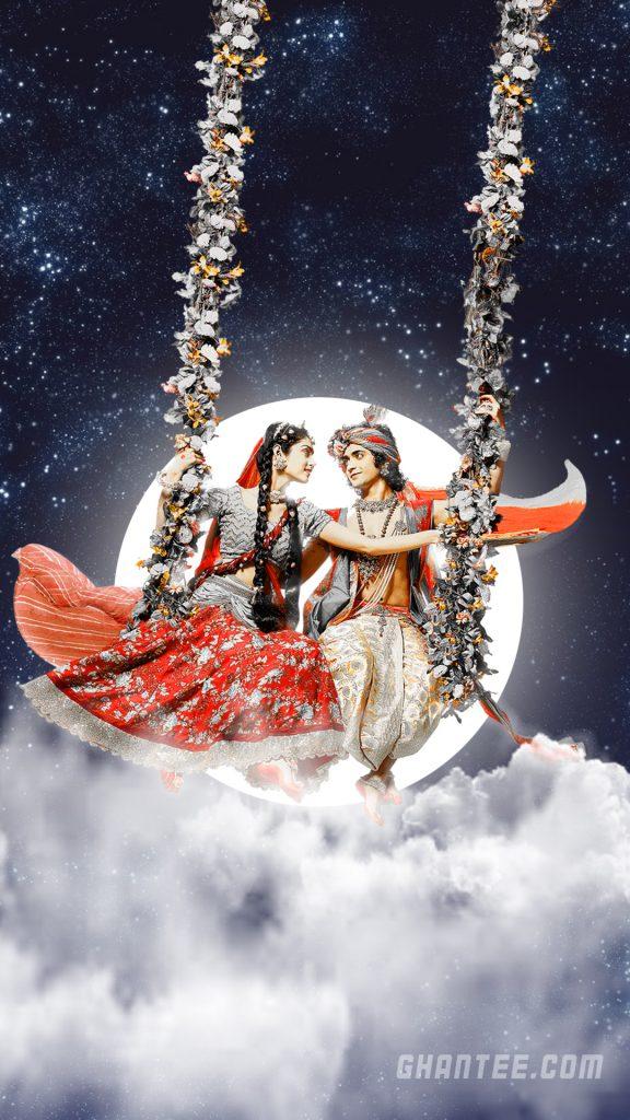 radha krishna beautiful night hd phone wallpaper