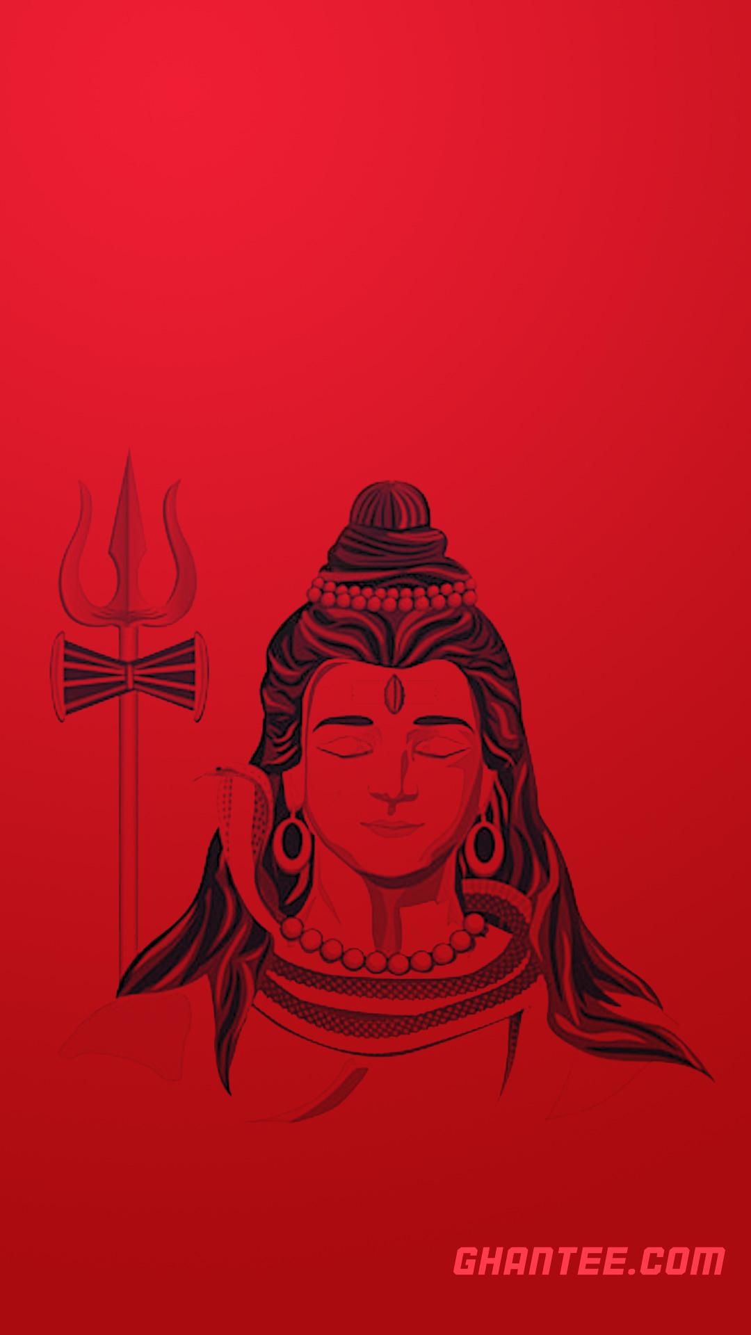 red shiva sketch hd phone wallpaper