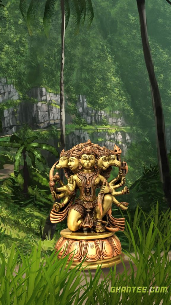 ancient lord hanuman hd phone wallpaper-5 faced