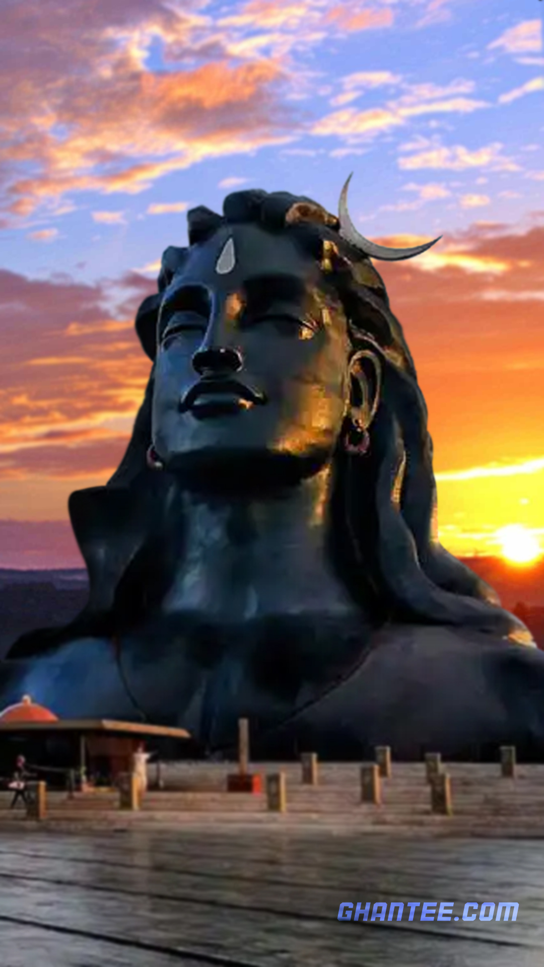 isha adiyogi bust dawn wallpaper for iphone | full HD