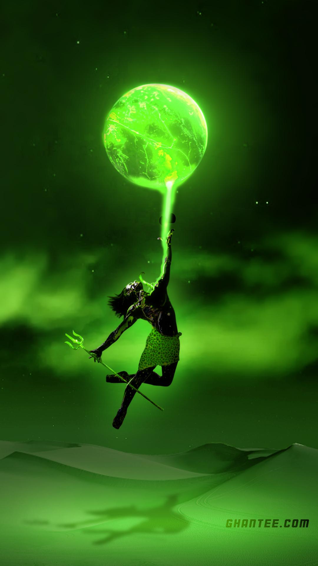 angry shiva dancing hd phone wallpaper | neon green