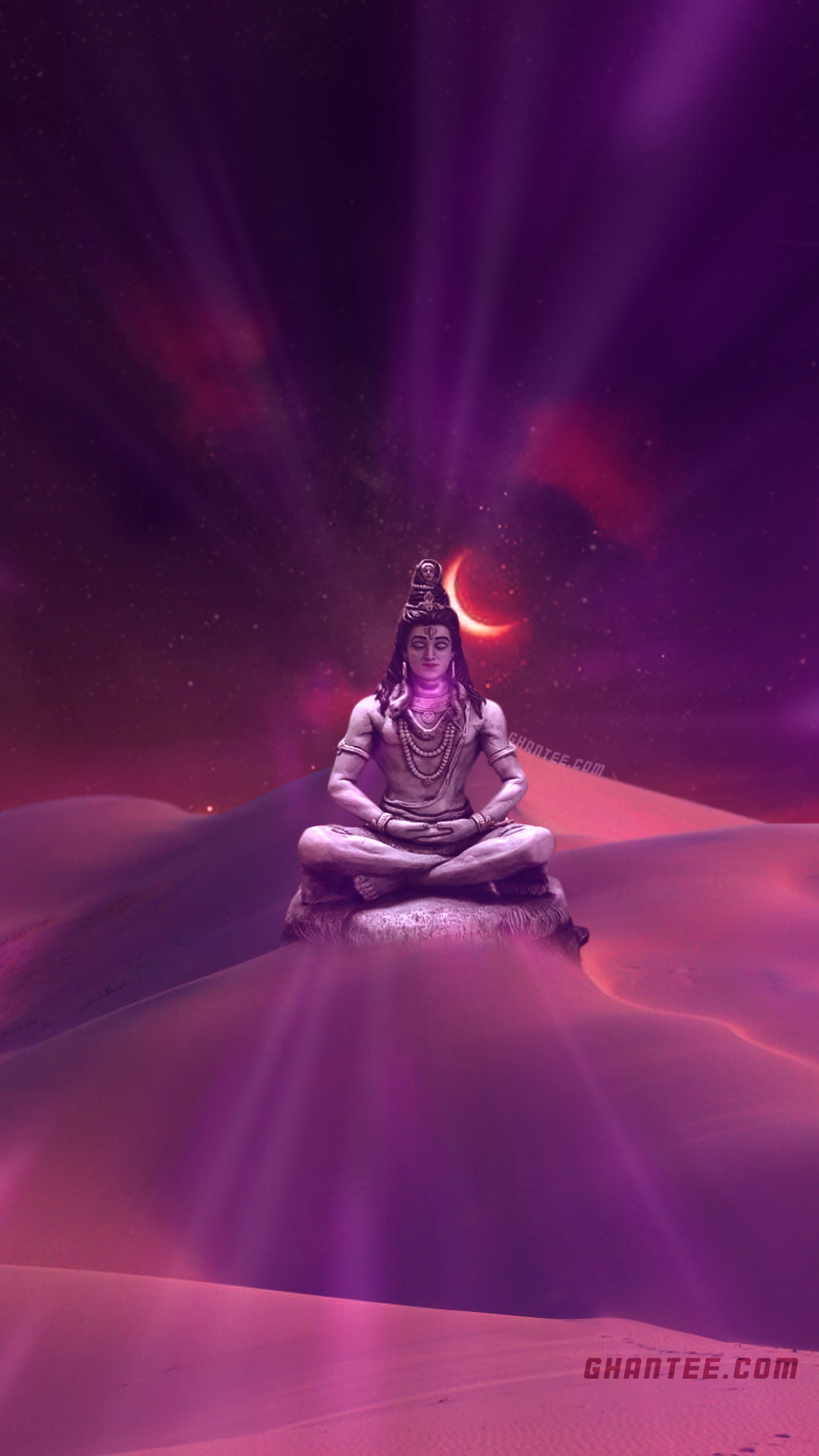 lord shiva meditating in desert glowing phone wallpaper | full HD