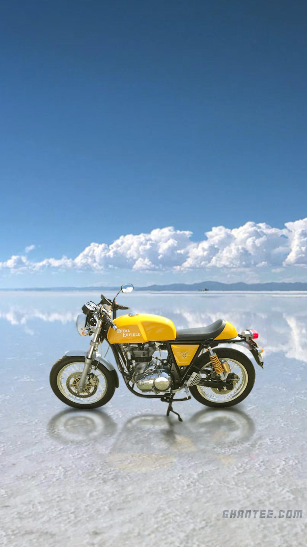 royal enfield bullet bike hd phone wallpaper | yellow