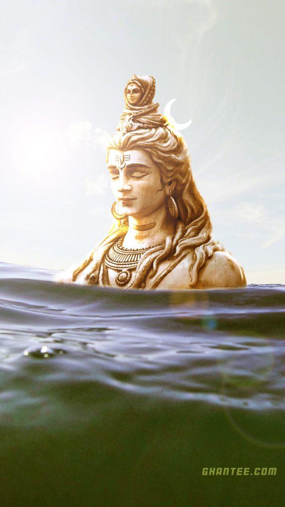shiva statue in water hd phone wallpaper