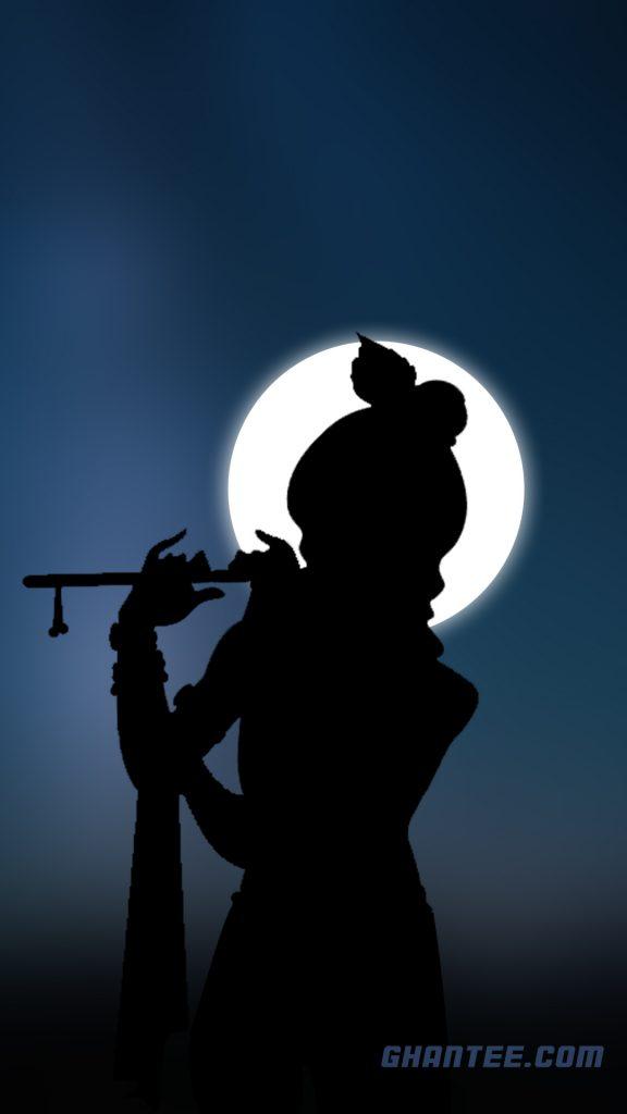 shri krishna silhouette hd phone wallpaper