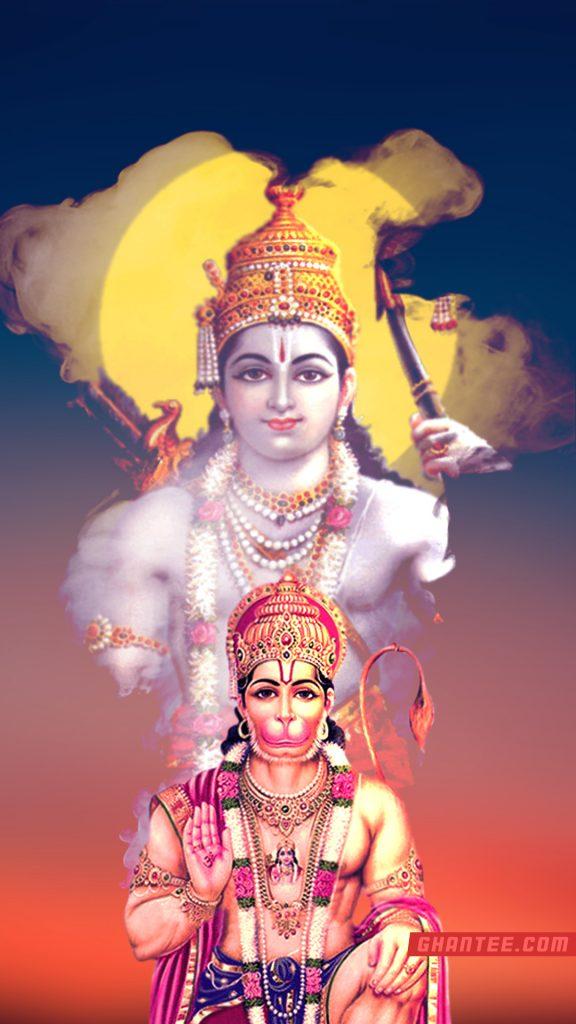 shri hanuman with lord ram hd phone wallpaper
