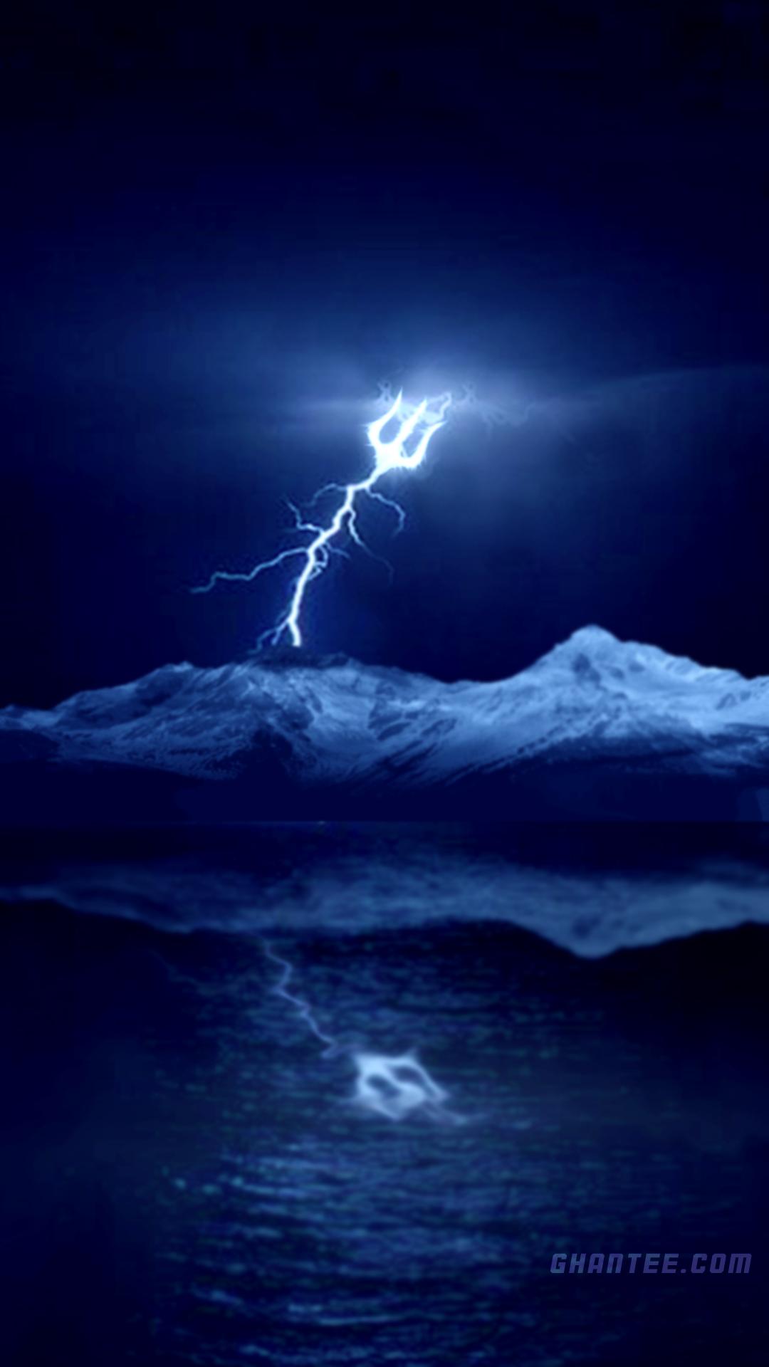 trishul shape lightning hd phone wallpaper