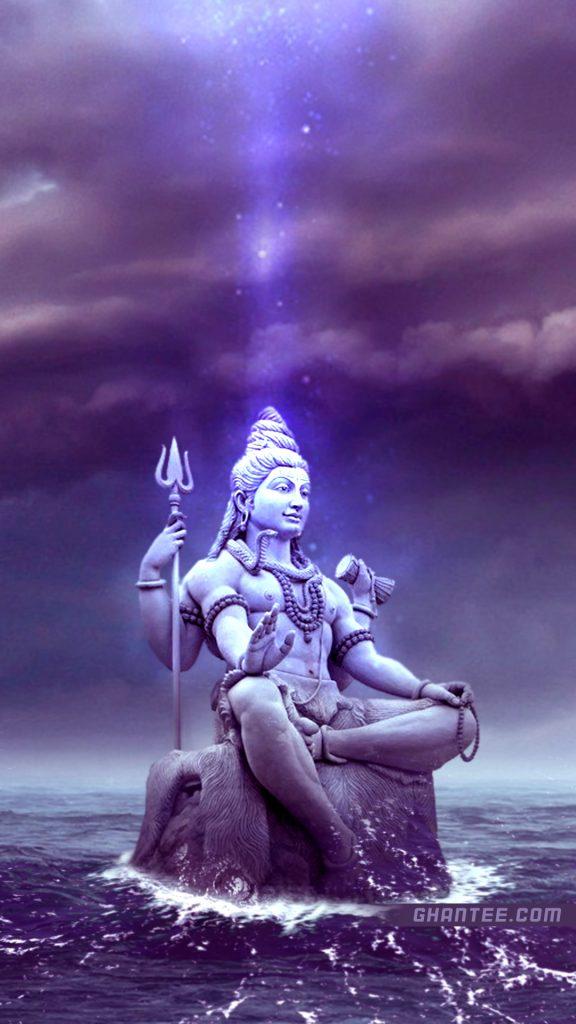 har har mahadev shiv bhagwan statue in ocean wallpaper