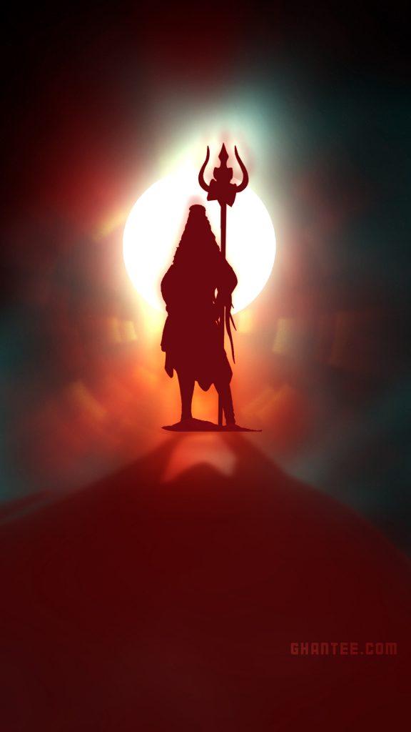 lord shiva glowing silhouette hd phone wallpaper