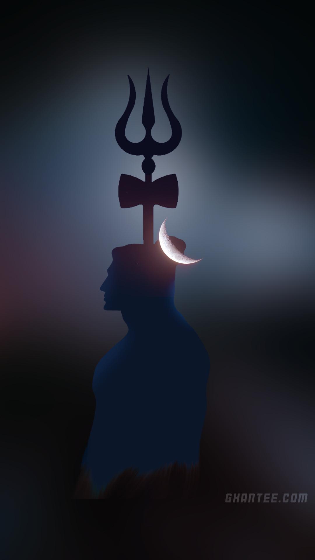 lord shiva moon night hd phone wallpaper