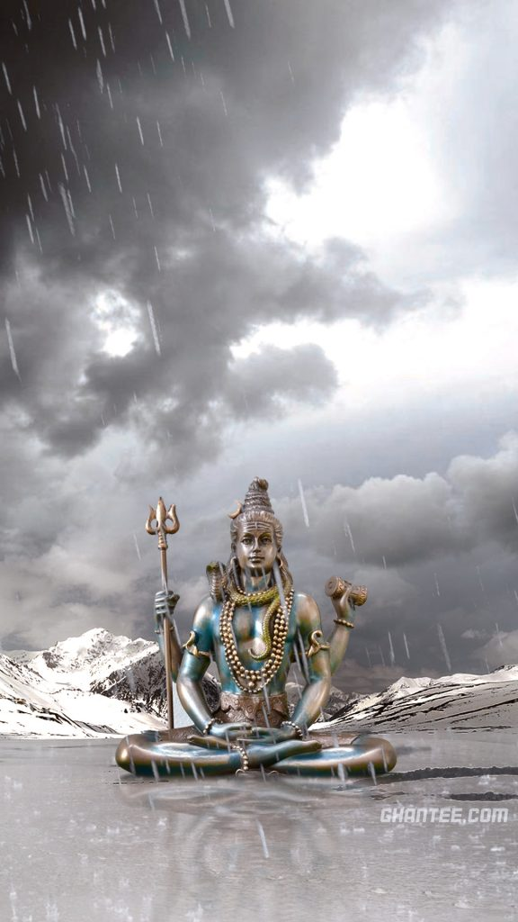 HD image of mahadev in rain