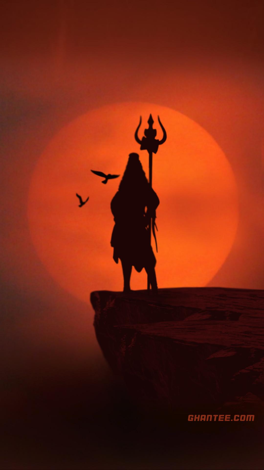 mahadev image orange sunset silhouette