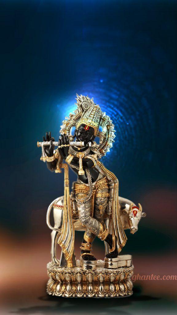 lord krishna black statue wallpaper