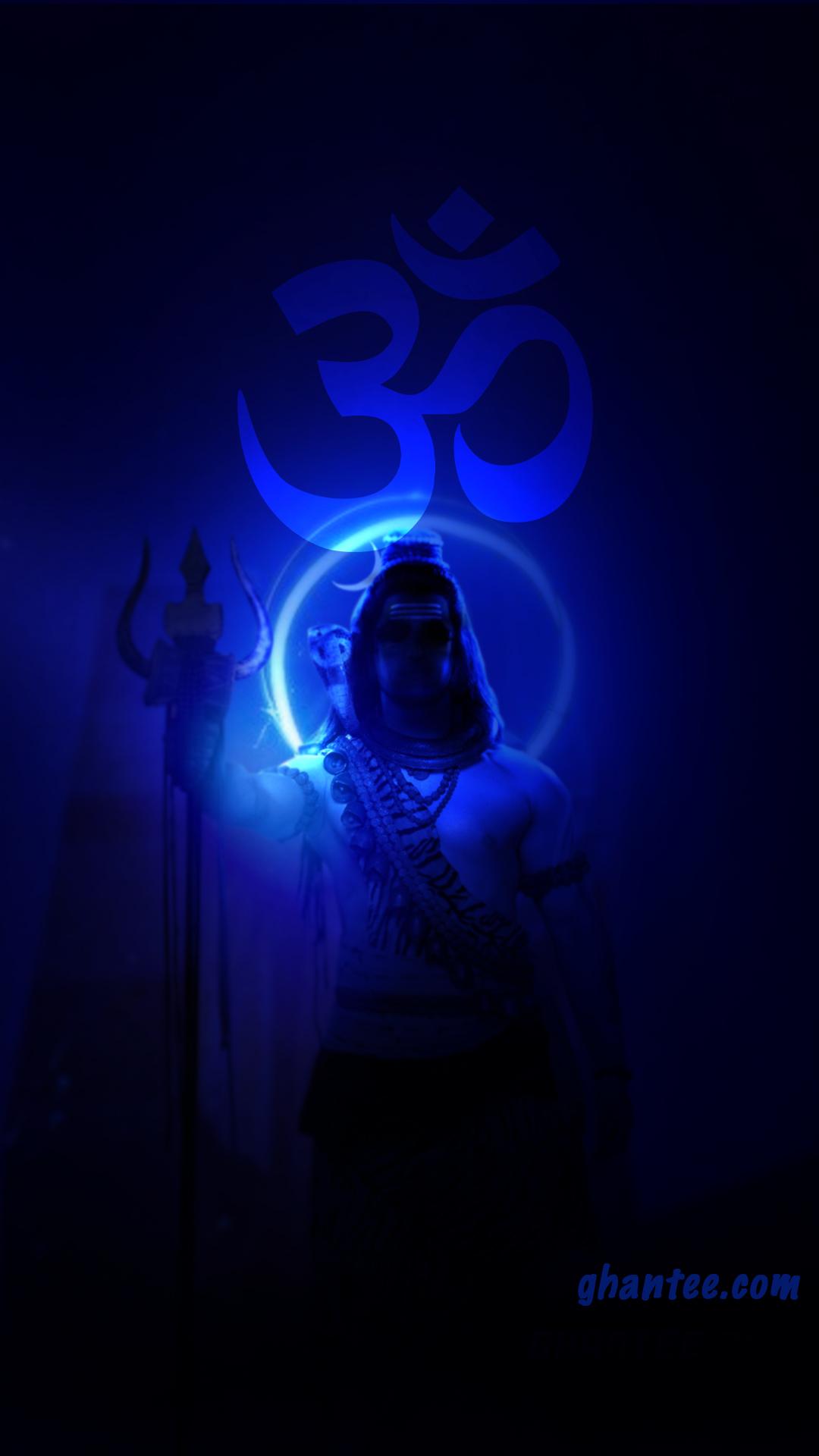 neon blue om namah shivay image