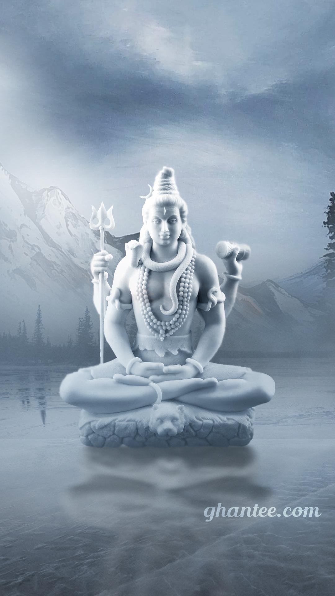 mahadev white statue in snow
