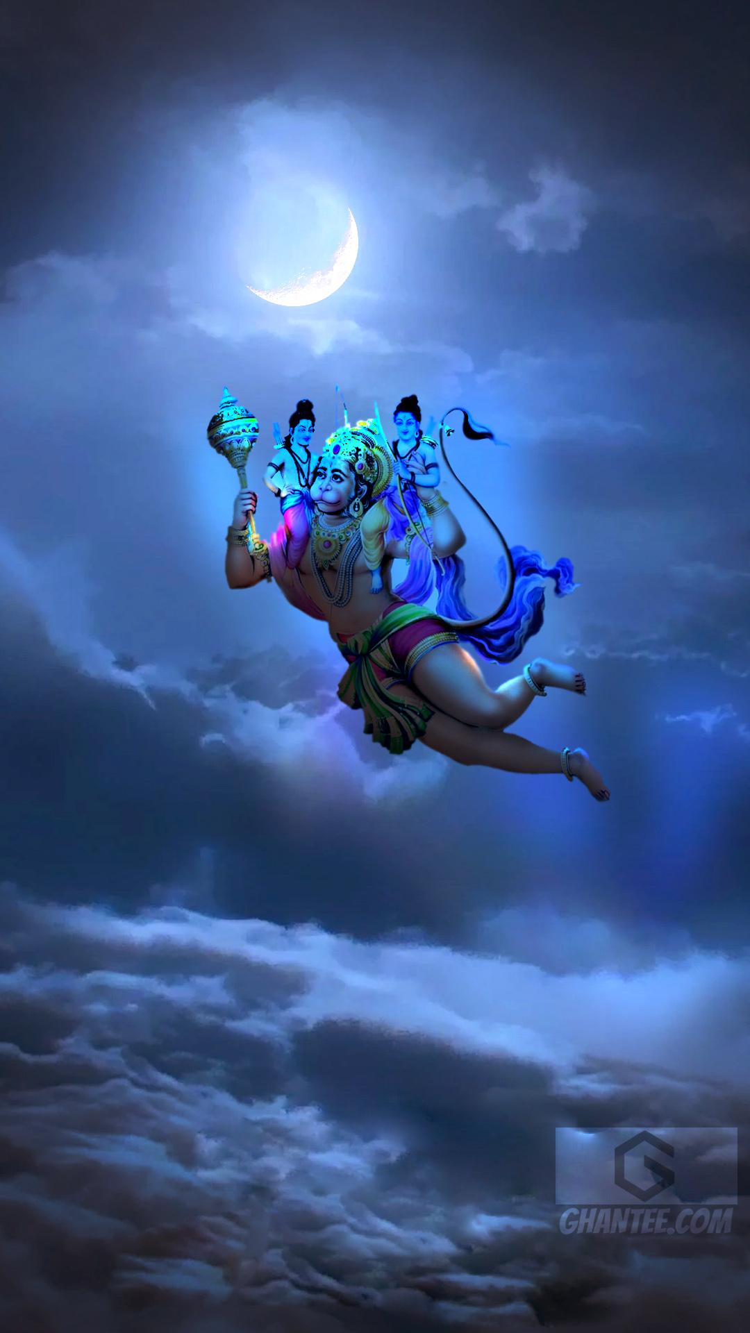 beautiful bajrangbali image flying with ram and lakshman