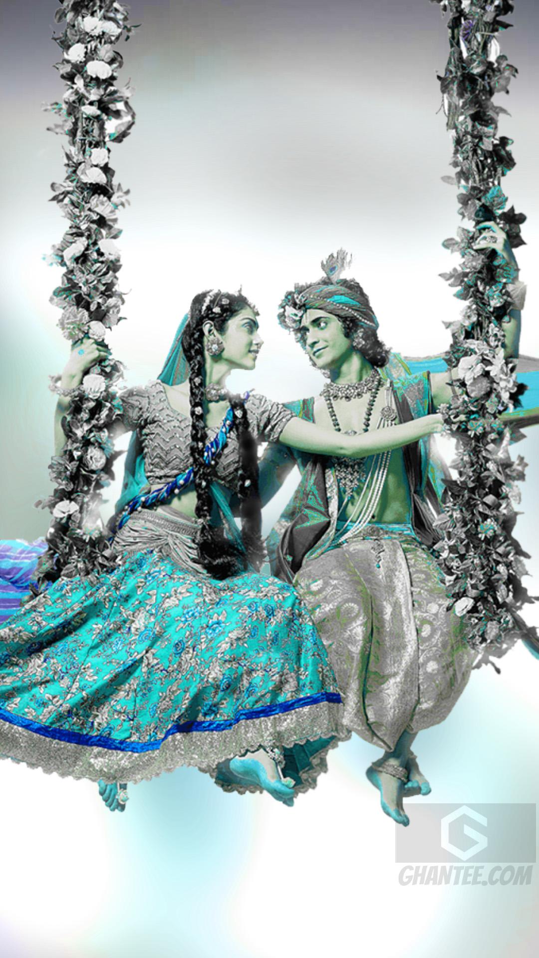 bright radhakrishna wallpaper for mobile
