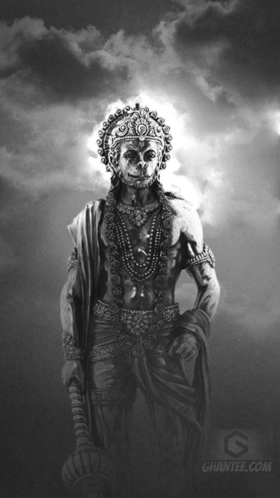 hanuman ji black and white phone wallpaper