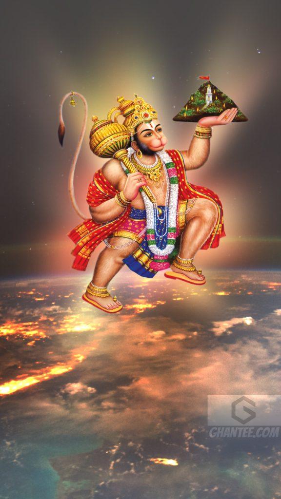 hanuman ji flying over earth hd photo