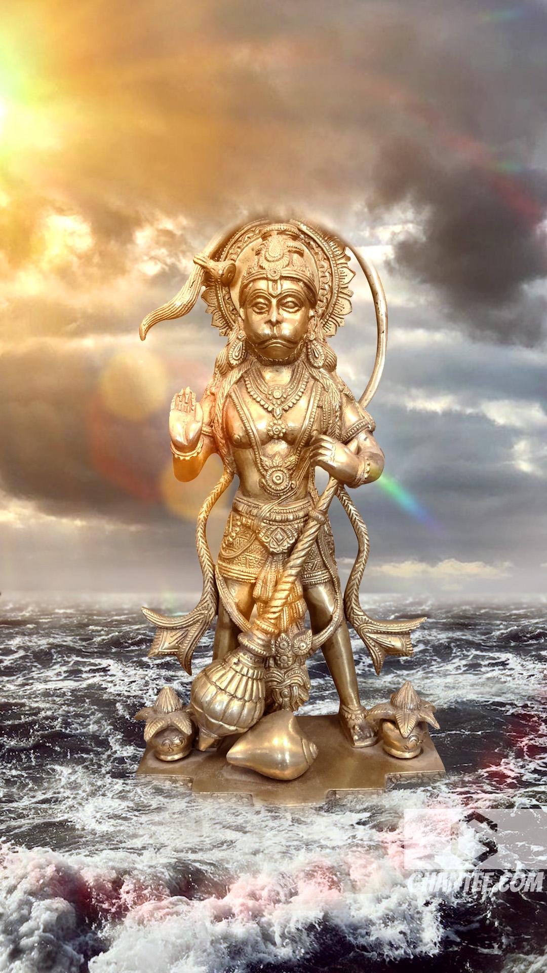 hanuman ji murti in the middle of the ocean
